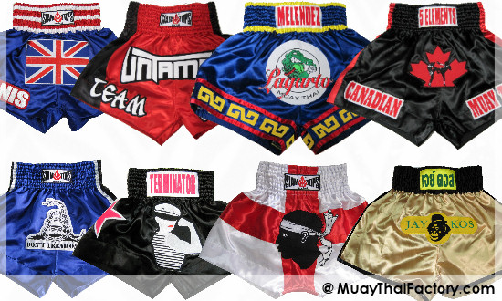 custom logo on Muay Thai shorts